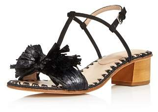 Pour La Victoire Women's Julie Nubuck Leather & Raffia T-Strap Block Heel Sandals