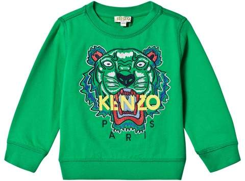 Green Embroidered Tiger Sweatshirt