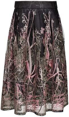 Smart & Joy Forest Pattern Lace Puffy Midi Skirt