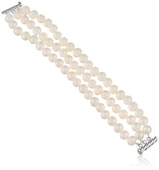 Sterling Silver 3-Row White Freshwater Cultured A Quality Pearl Bracelet 8.5-9mm)
