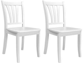 CorLiving Dillon White Solid Wood Dining Chairs with Curved Vertical Slat Design, Set of 2