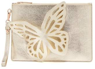 Sophia Webster Flossy Leather Clutch - Womens - Gold