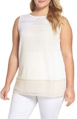 Nic+Zoe Sunlight Chiffon Trim Linen Blend Sweater