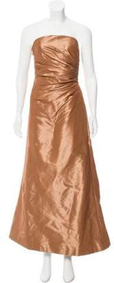 Reem Acra Silk Strapless Evening Dress w/ Tags
