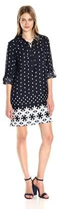 Jones New York Women's 3/4 SLV Ethnic Geo Print Lace up Shirt