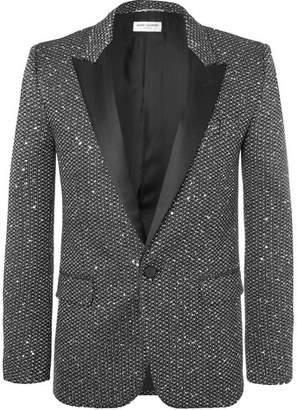 Saint Laurent Silver Slim-Fit Sequinned Woven Blazer - Silver