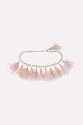 Rosantica Revolution Crystal-embellished Gold-tone And Feather Belt - Pink