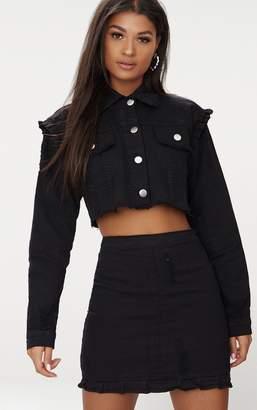 PrettyLittleThing Black Ruffle Cropped Denim Jacket