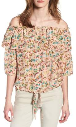 Zadig & Voltaire Tease Butterfly Off the Shoulder Silk Top