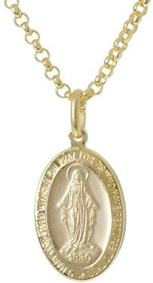 "Bronzo Italia Miraculous Mary Pendant w/ 18""Rolo Chain"