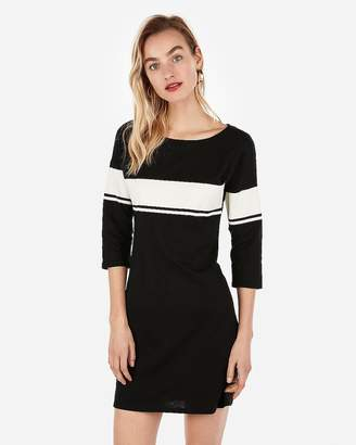 Express Varsity Stripe Front Mini Shirt Dress