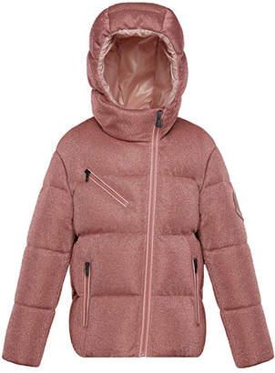 Moncler Taurua Metallic Asymmetric-Zip Quilted Jacket, Size 8-14