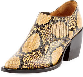 Chloé Rylee Python-Embossed Ankle Bootie