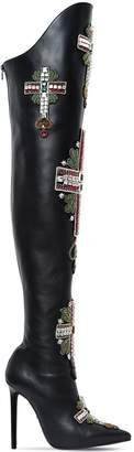 Versace 110mm Embellished Leather Boots