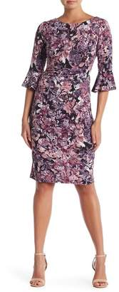 Connected Apparel 3\u002F4 Bell Sleeve Print Dress