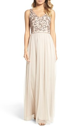 Women's Adrianna Papell V-Neck Embroidered Bodice Gown $199 thestylecure.com