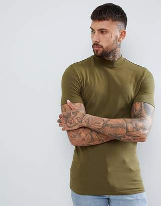 Asos DESIGN muscle fit t-shirt with turtleneck in khaki