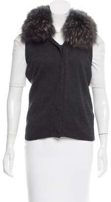 Diane von Furstenberg Lupan Fur-Trimmed Vest w/ Tags
