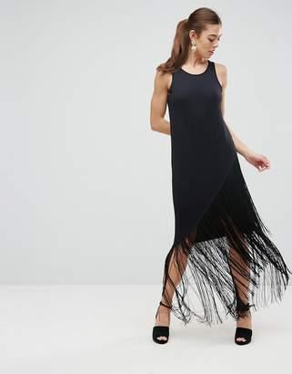 Asos Design Maxi Dress With Fringe Detail