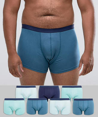 Asos PLUS Trunks In Blue 7 Pack