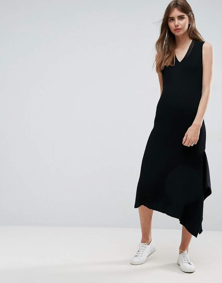 Asos Knitted Dress With V Neck And Hem Detail