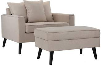 BEIGE Latitude Run Pogue Chair and a Half Ottoman Upholstery Color