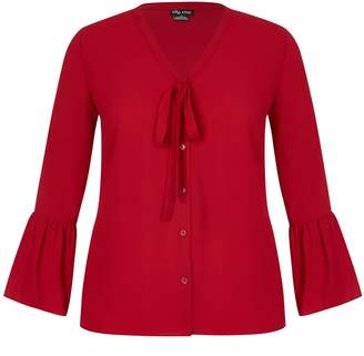 City Chic **City Chic Red Office Fling Shirt
