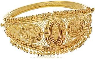 18k Gold Over Fine Silver Plated Bronze Indian Ethnic Kada Hinged Bangle Bracelet