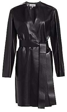 Loewe Women's Belted Leather Coat