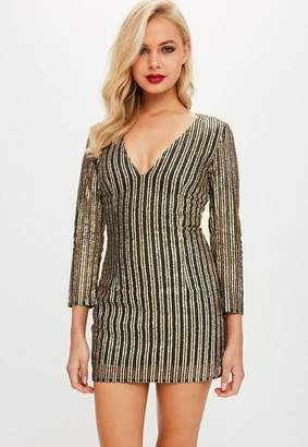 Missguided Petite Gold Plunge Dress