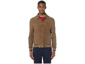 600069419f93 Eleventy Shirt Collar Suede Bomber Jacket