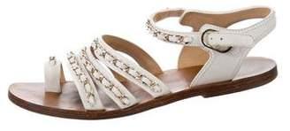 Chanel Leather Embellished Flat Sandals