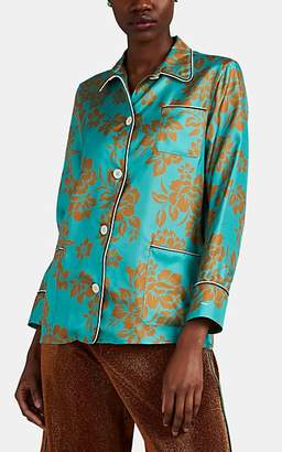 d1f11d087b2e7b THE GIGI Women's Deloris Tropical-Floral Silk Pajama Blouse - Green
