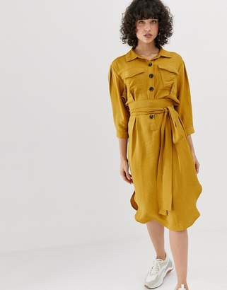 Pieces button through utility dress