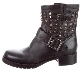 Valentino Rockstud Moto Ankle Boots