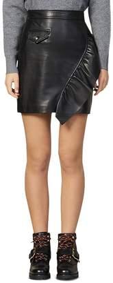 Sandro Hanna Ruffled Leather Mini Skirt