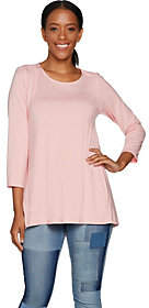 Martha Stewart Scoop Neck 3/4 Sleeve Hi-Low HemKnit Tunic