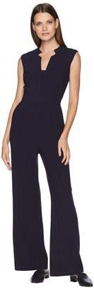 Tahari ASL Sleeveless Pinstripe Crepe Jumpsuit with Star Neckline Women's Jumpsuit & Rompers One Piece