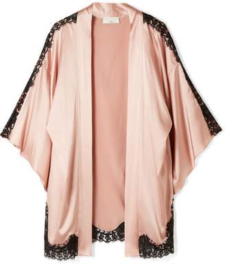 Fleur Du Mal Kilian Lace-trimmed Stretch Silk-satin Kimono - Blush