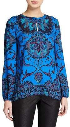 Kobi Halperin Jayden Printed Long-Sleeve Silk Keyhole Blouse