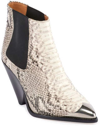 Isabel Marant Lemsey Snake-Print Leather Ankle Booties
