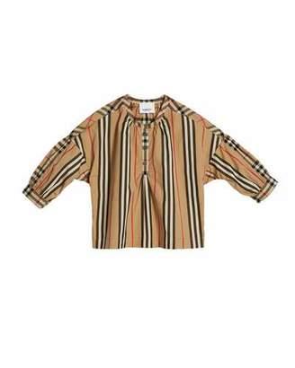 Burberry Lola Icon Stripe Check-Trim Blouse, Size 3-14