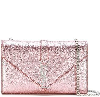 Saint Laurent Monogram Galactica Chain Wallet Glitter Small Pale Pink