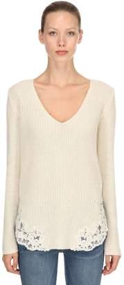 Ermanno Scervino Lace Alpaca Blend Rib Knit Sweater