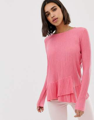 Pieces Long Sleeve Frill Top