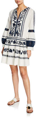 Tory Burch Gabrilla Split-Neck Bishop-Sleeve Embroidered Dress w/ Lace Insets