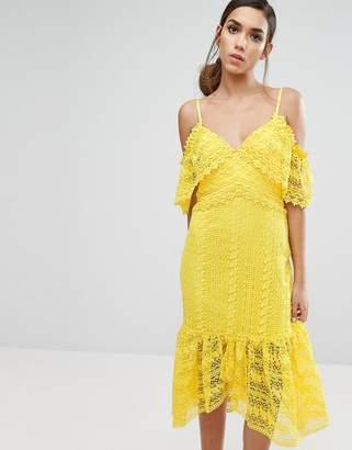 Three floor Cold Shoulder Midi Lace Dress