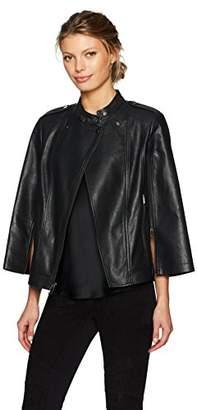 BCBGMAXAZRIA Women's Lennon Knit Faux Leather Moto Cape