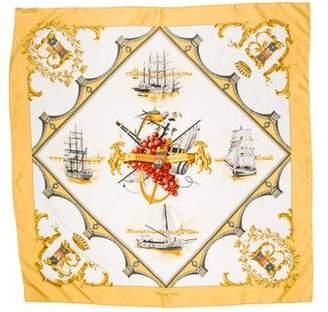 Hermes Bordeaux Porte Oceane Silk Scarf