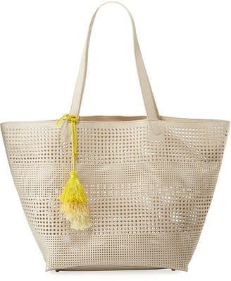 Neiman Marcus Perforated Shoulder Tote Bag with Tassel
